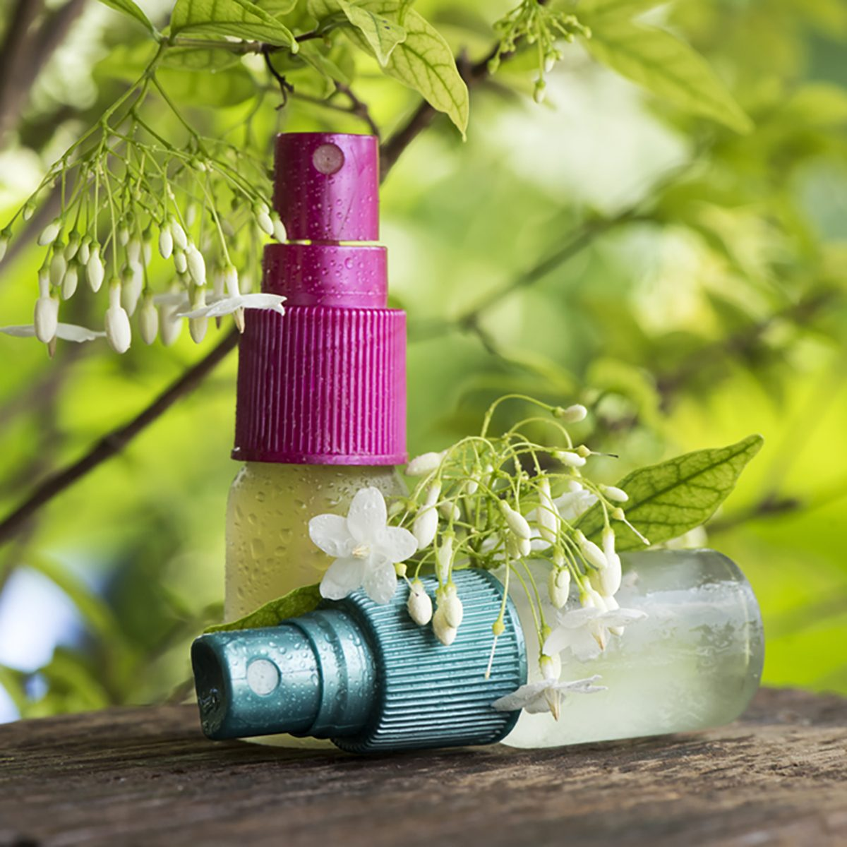 Moke flowers extract, essential oil is mixed with water in a spray bottle