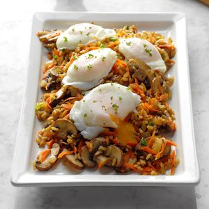Mushroom and Brown Rice Hash with Poached Eggs