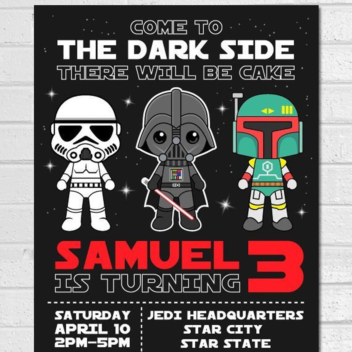 Star Wars Invitation, Star Wars Birthday, Star Wars, Star Wars Printable, Star Wars Card, Star Wars Invite Party, Darth Vader Invite