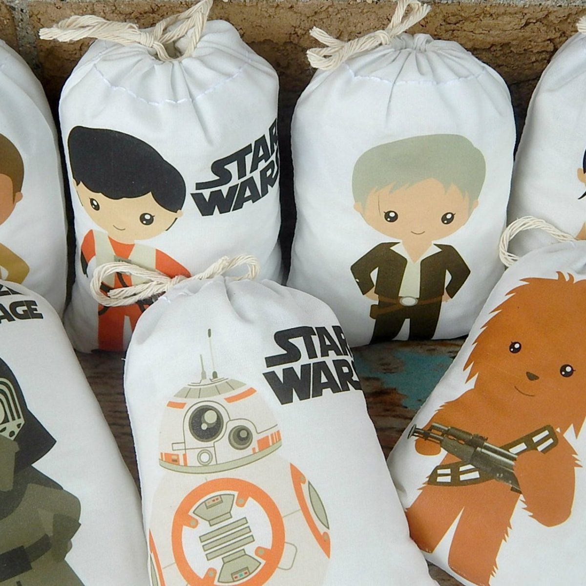 "7 Birthday Favor bags Star wars Group 2 Great for treats or gifts can be Personalized 6"" X 8""Set of 7 bags per order"