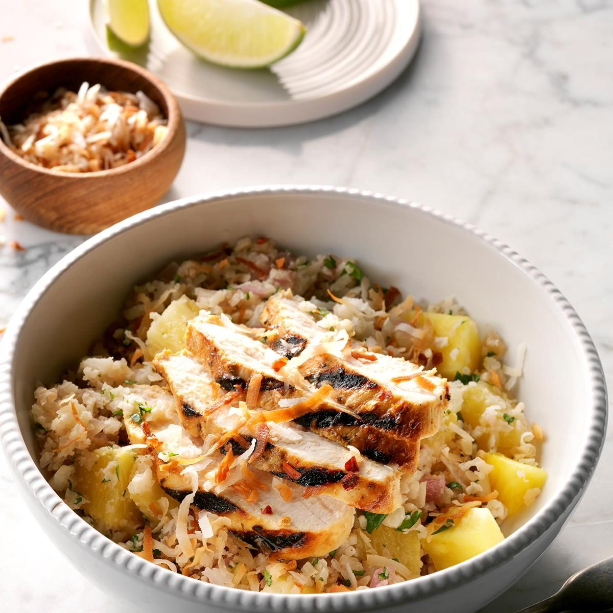 Tropical Chicken Cauliflower Rice Bowls