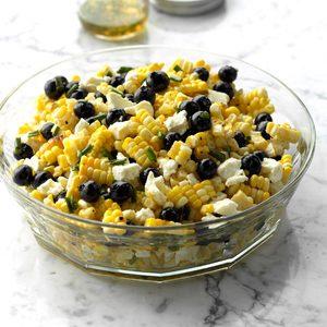 White Balsamic Blueberry, Corn and Feta Salad