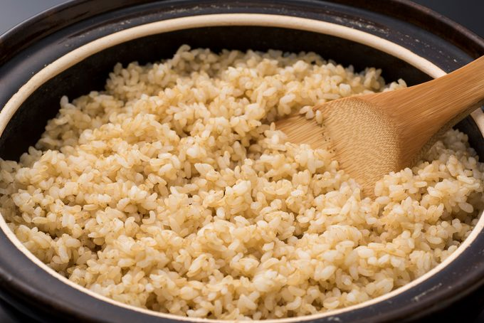 Homemade, cooked brown rice.