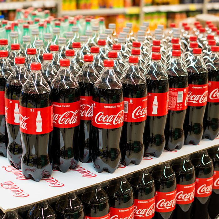 BELGRADE, SERBIA - MARCH, 2018: Plastic bottles of Coca Cola in a grocery store
