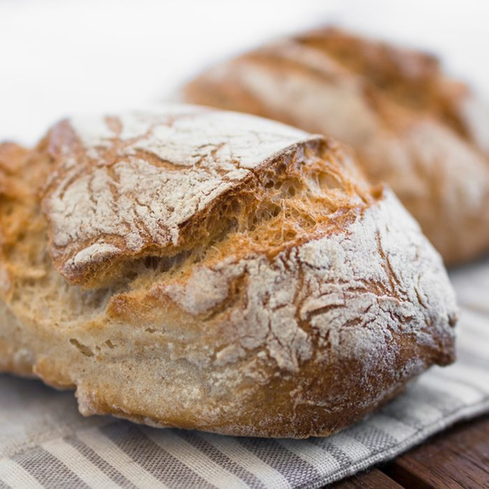 Extreme clos-up of rustic Italian bread