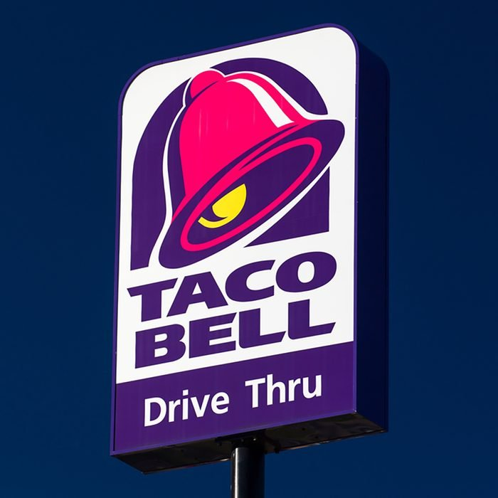 Taco Bell Restaurant sign and logo.