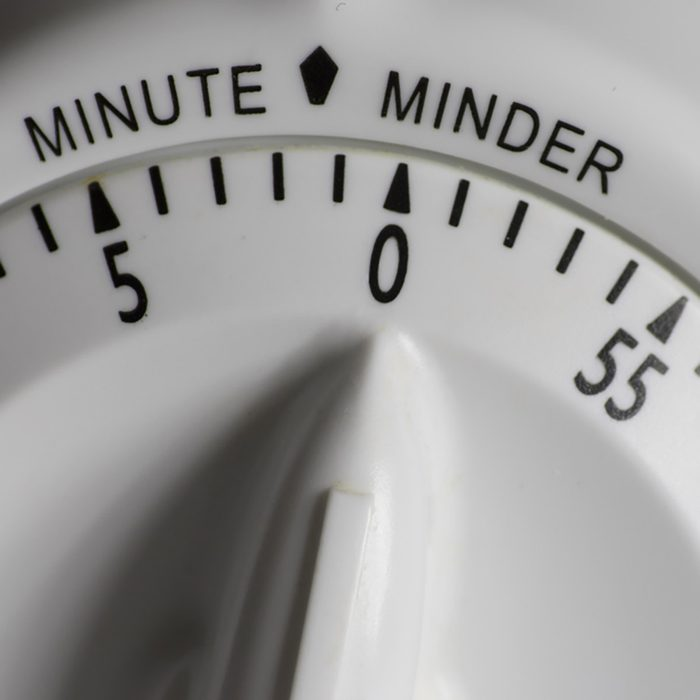 Close-up of the dial of a cooking timer
