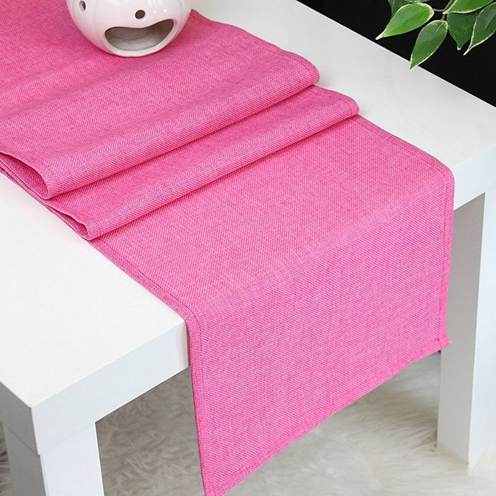 pink runner, table