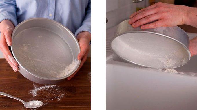 flouring a cake pan