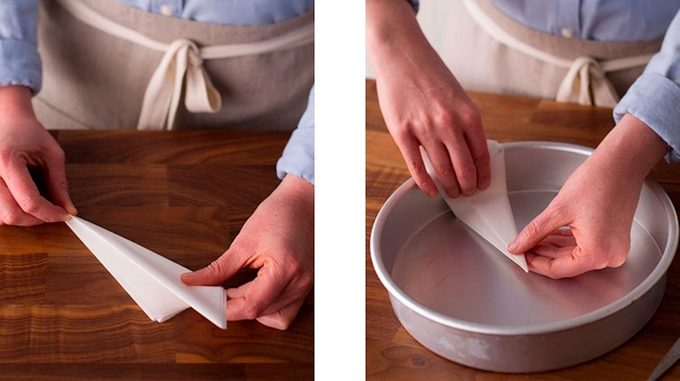 unfolding parchment paper in cake pan