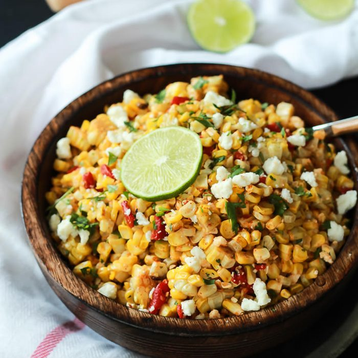 Grilled chili lime sweet corn salad