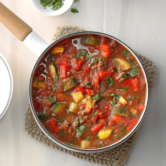 Keto Ground Beef Veggie Stew