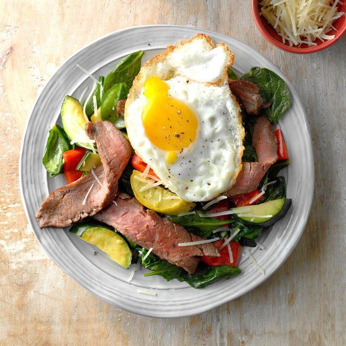 Vegetable, Steak and Eggs