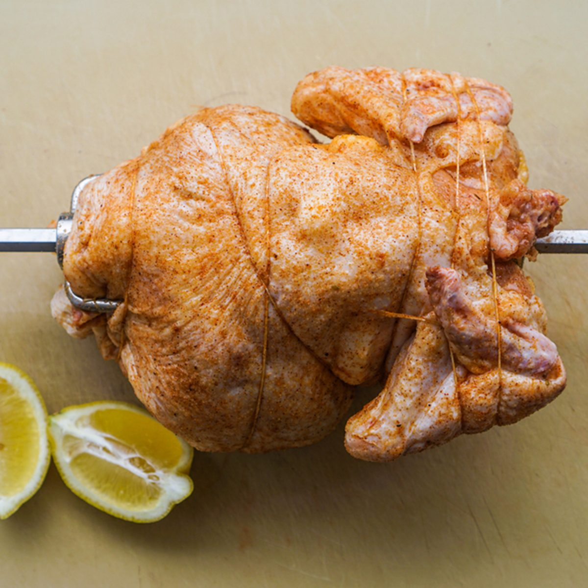 rotisserie chicken on the grill/preparation