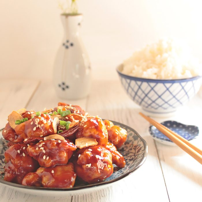 general tso's chicken With rice, Chinese food