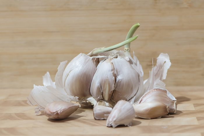 Garlic head, a few denticles with sprouts on a wooden board.