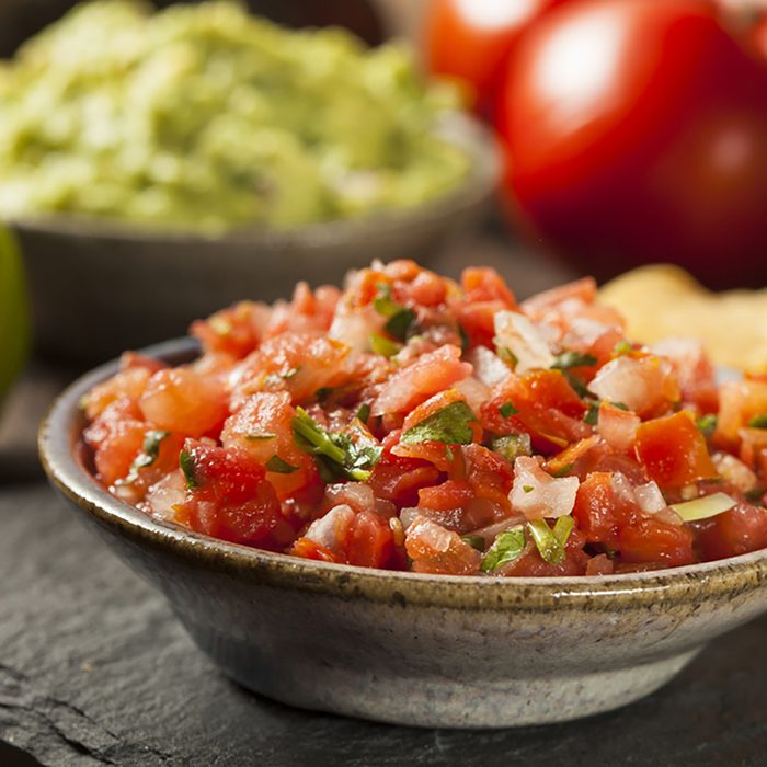 Homemade Pico De Gallo Salsa and Chips Ready to Eat