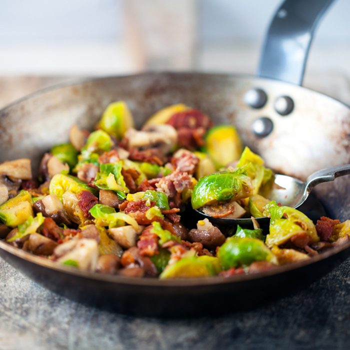 Brussels sprouts with mushrooms and bacon