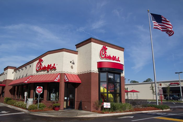 A Chick-fil-A fast food restaurant in Jacksonville.