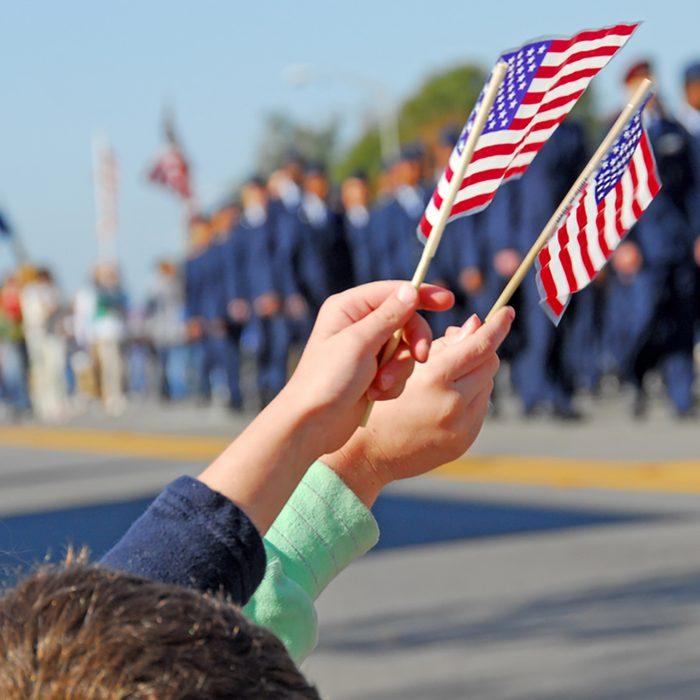 Flags at Veteran's Day Parade