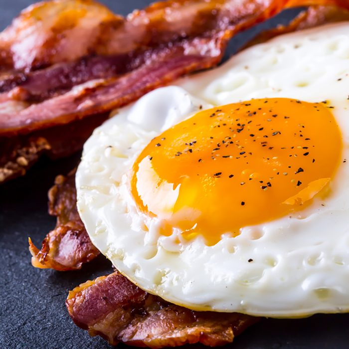 Bacon and egg as English breakfast.
