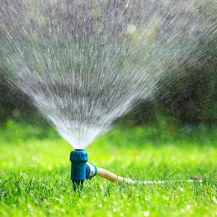 Lawn water sprinkler spraying water over grass in garden on a hot summer day