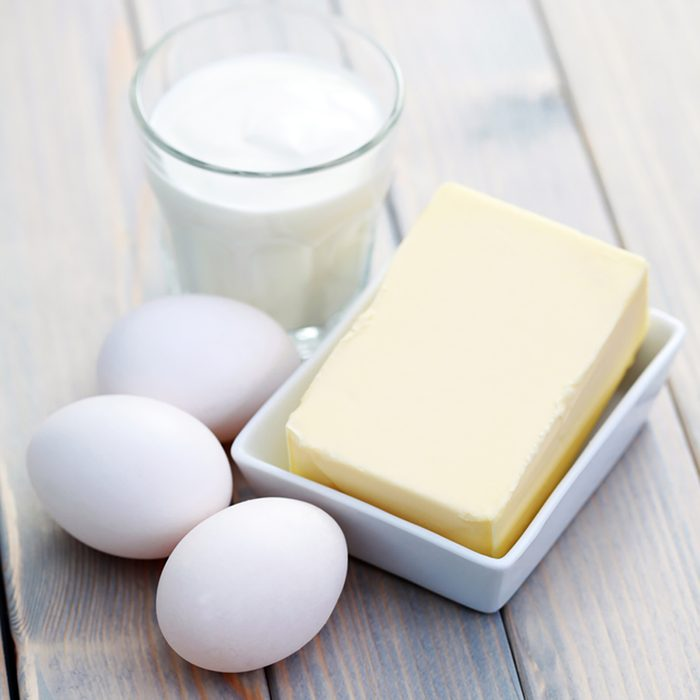 Dairy products on wooden table - food and drink