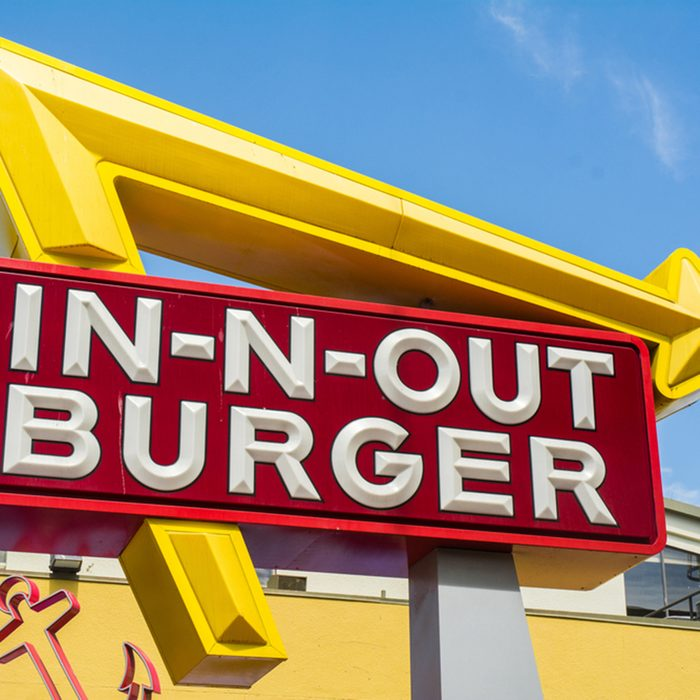 Large In-N-Out Burger billboard.
