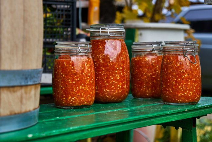 Grinded hot pepper in jars