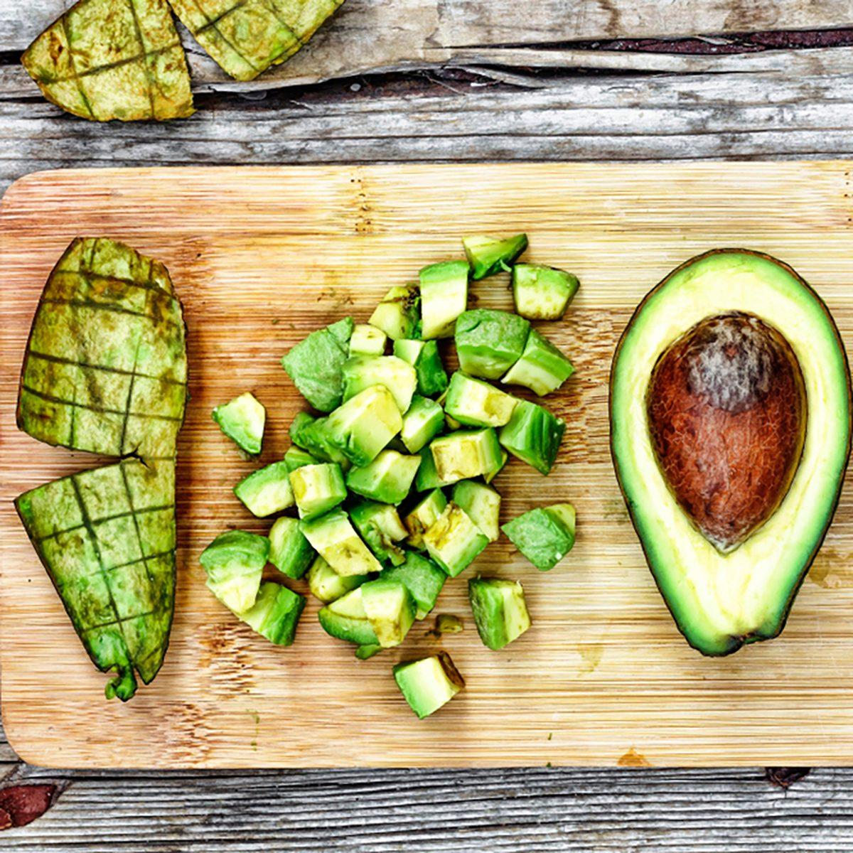 Closeup avocado. Avocado Sliced and diced for salads