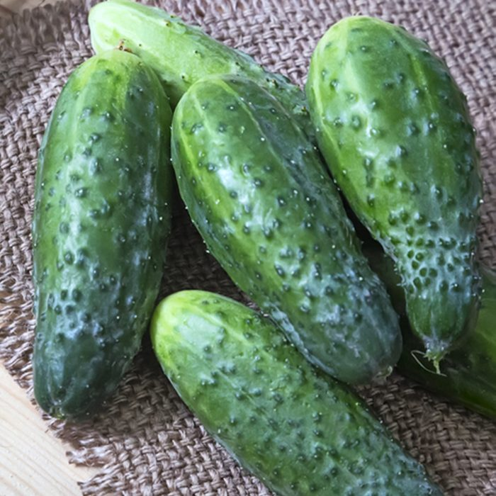 Cucumbers on a napkin on the table