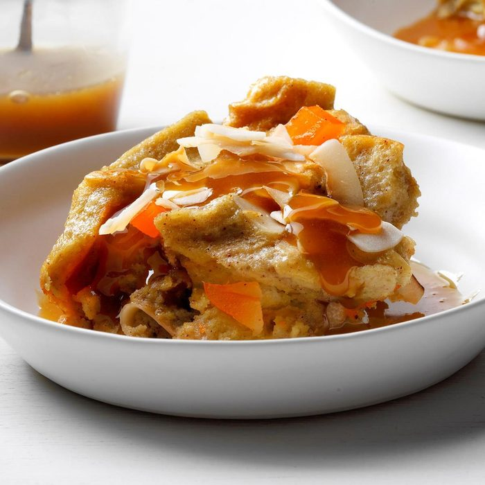 Runner Up: Coconut Mango Bread Pudding with Rum Sauce