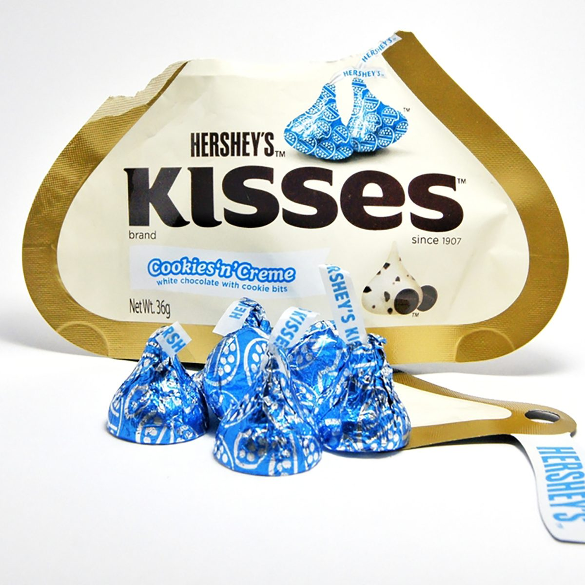 A cookies and cream package of Hersheys Kisses.