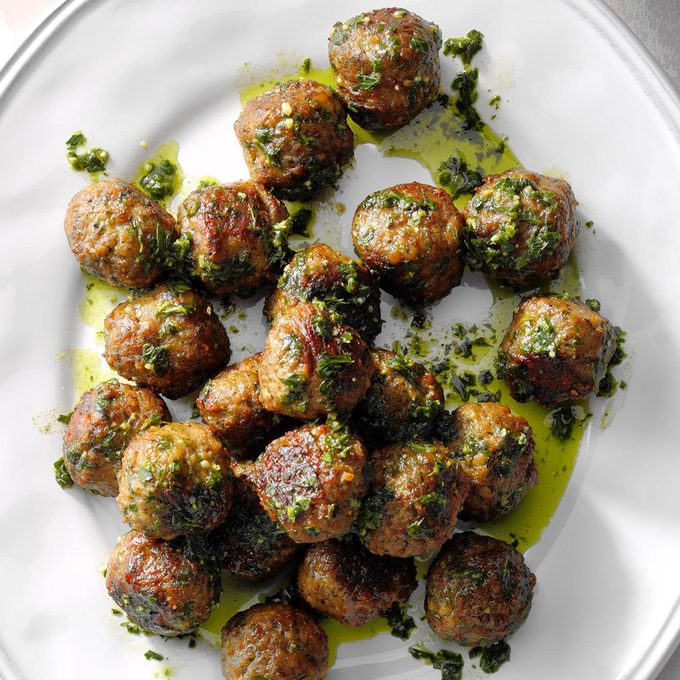 Meatballs with Chimichurri Sauce