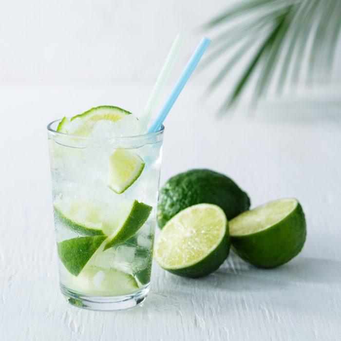 Caipirinha cocktail with lime