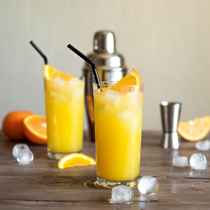 Screwdriver Cocktail with vodka, ice and orange juice.