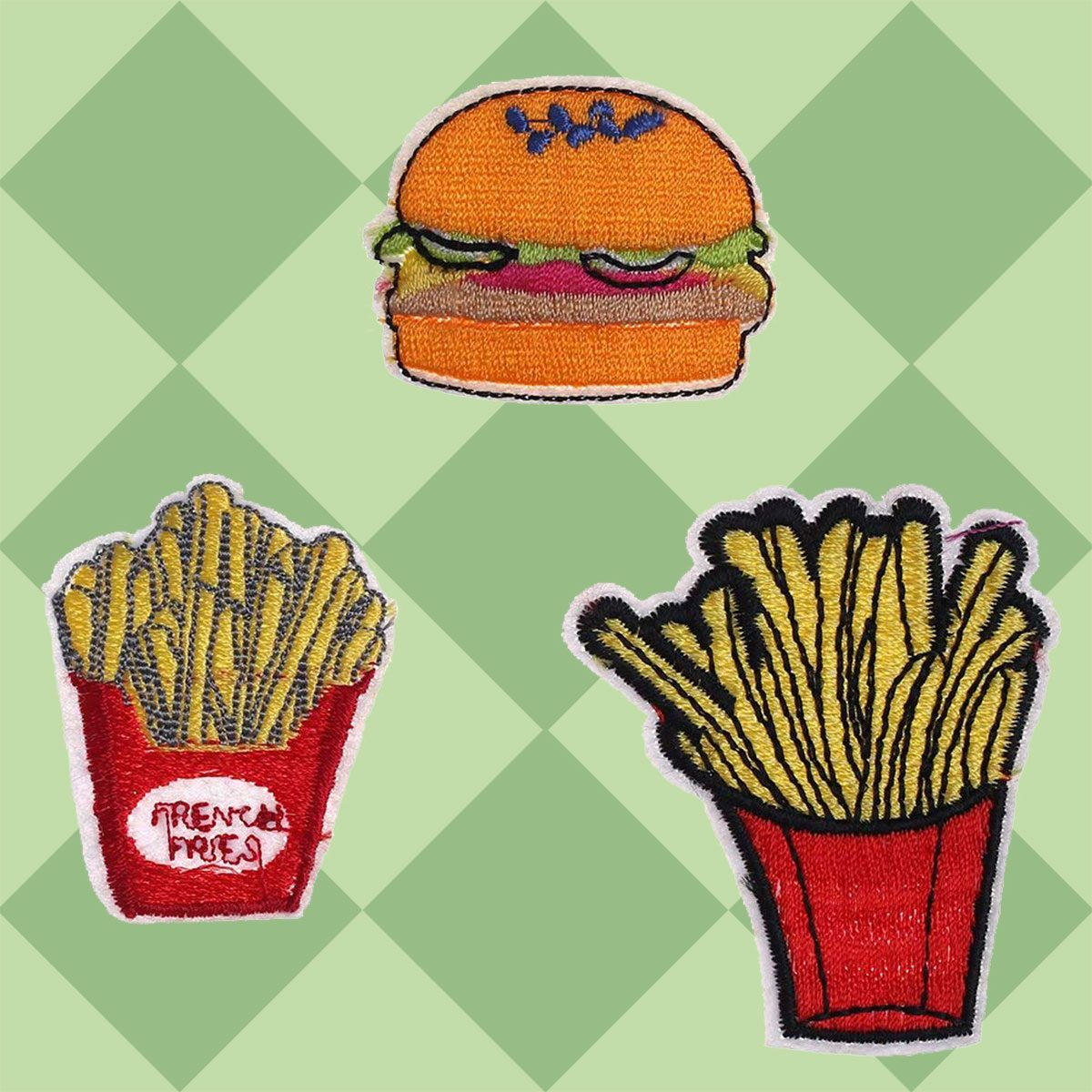 8pcs Assorted Food Patches Hamburger Dessert Fries Iron on Appliques Clothing Decoration
