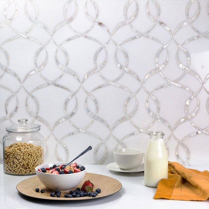 Combination of marble and mother-of-pearl as a backsplash