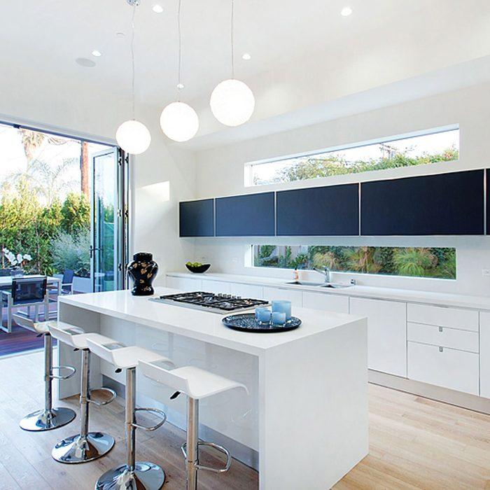 Modern kitchen with huge windows