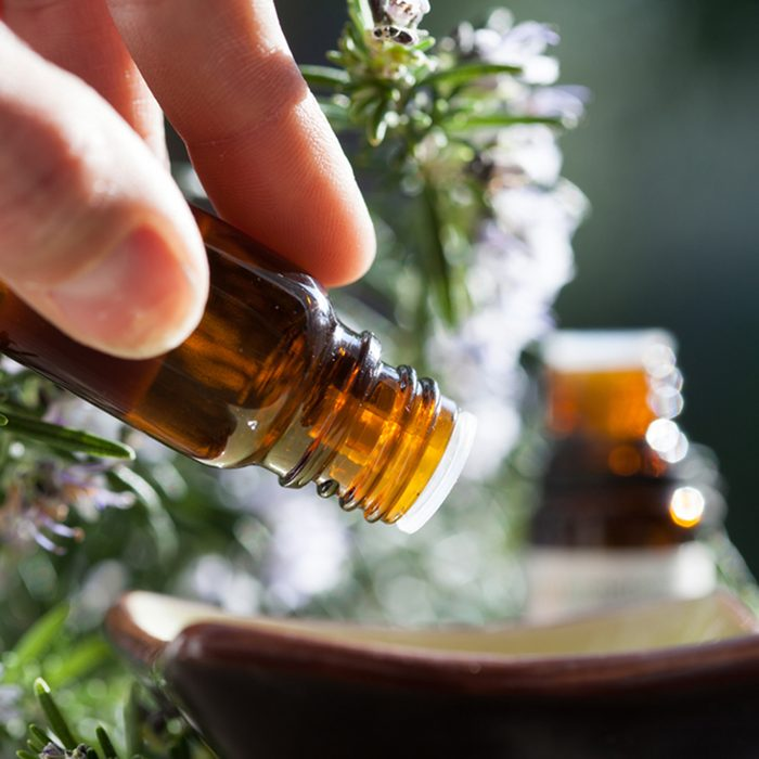 Rosemary essential oil in a bowl