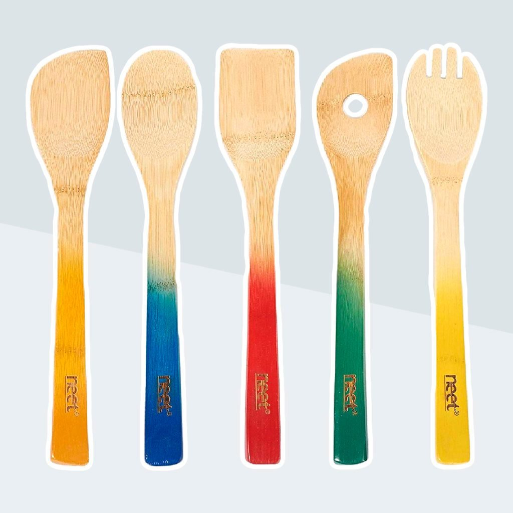 Colorful Bamboo Cooking Utensils - Wooden Spoon & Spatula   5 Piece Utensil Set   Non Stick Wooden Spoons Tools Gadgets For Kitchen Unique Gift Idea