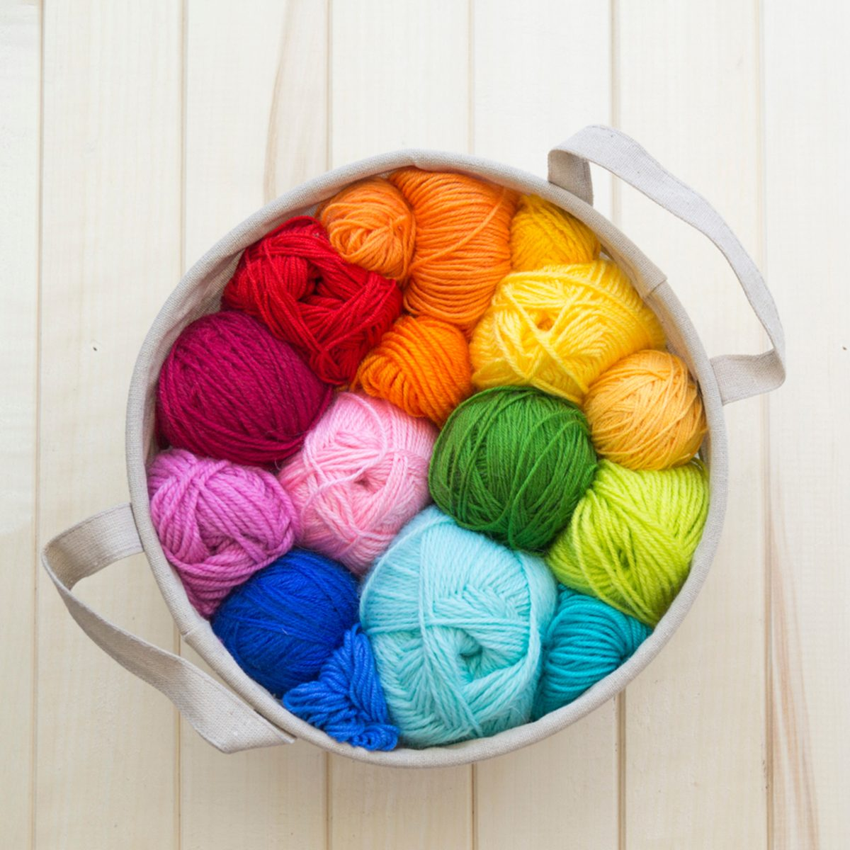 Colored balls of yarn.