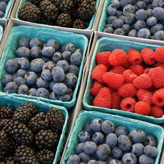 Baskets of berries at the farmers market
