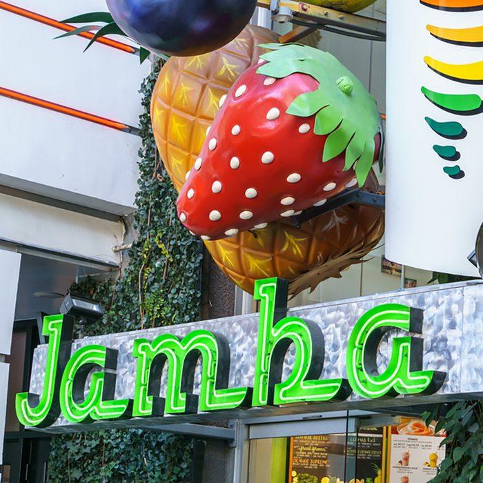 Jamba Juice Restauraut exterior. Jamba Juice Company is a restaurant retailer headquartered in California, United States