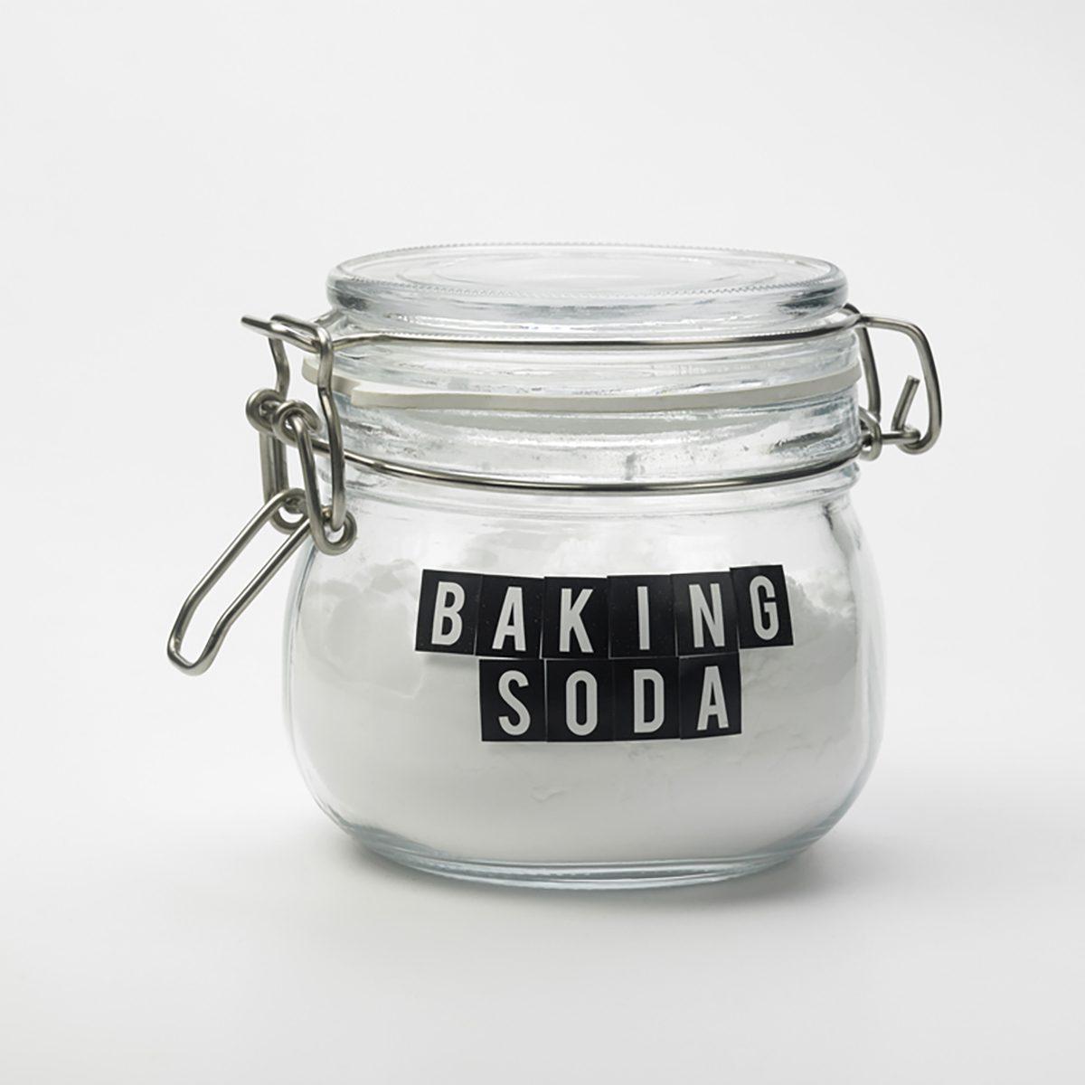 jar of baking soda on the white background