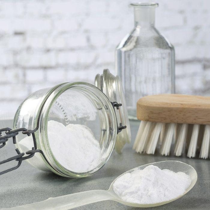 Natural cleaning tools lemon and sodium bicarbonate