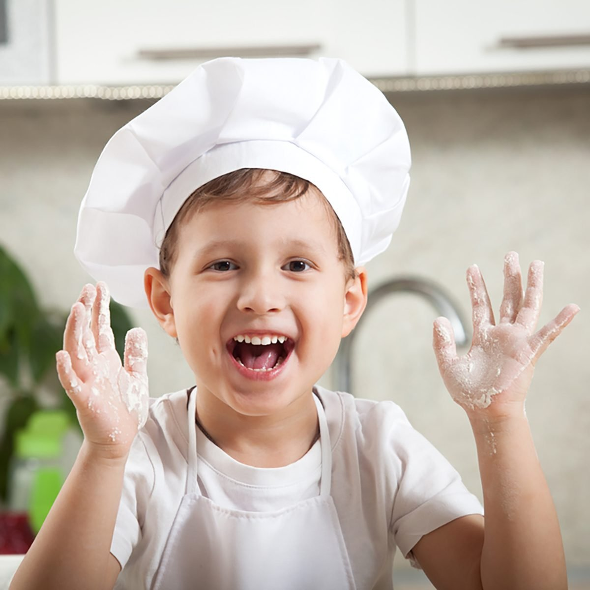 funny kid with flour