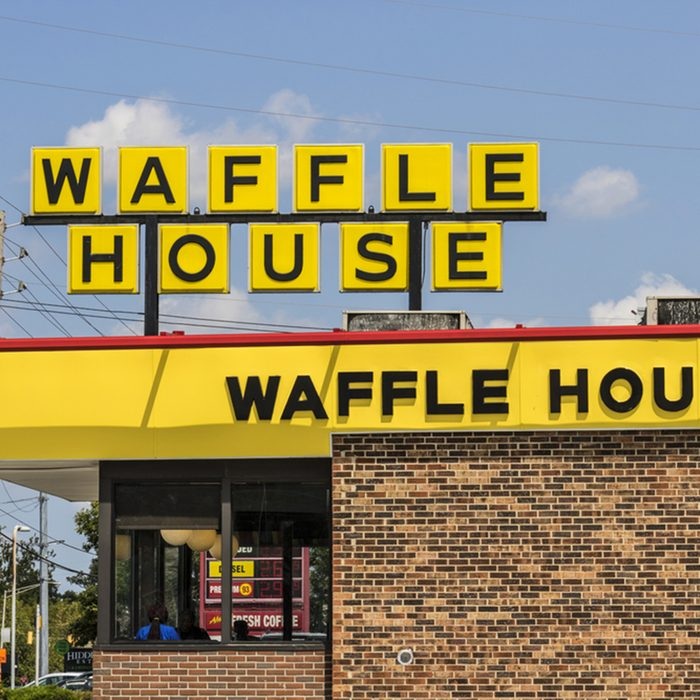 Exterior and Logo of Iconic Southern Restaurant Chain Waffle House.