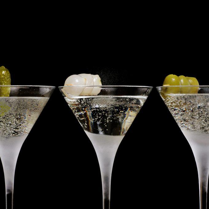 three cocktails in a row, gin/martini/vodka