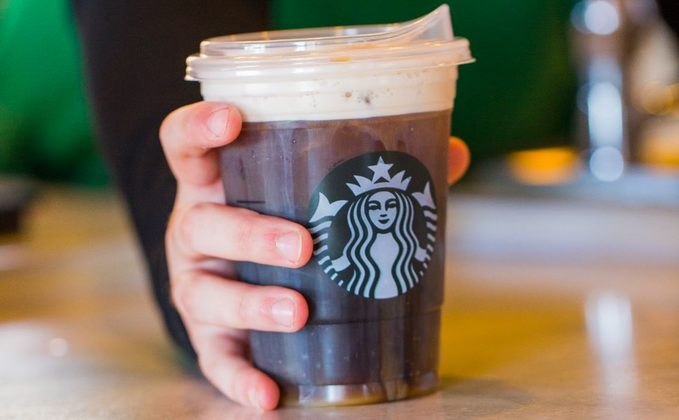 Close-up of new Starbuck's lid